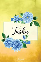 Tasha Journal: Blue Dahlia Flowers Personalized Name Journal/Notebook/Diary - Lined 6 x 9-inch size with 120 pages
