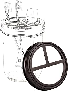 Mason Jar Toothbrush Holder Lid - Made from Premium Rustproof 304 Stainless Steel - for Ball Mason Jar or Pint 16oz. Wide Mouth Pint Jar - Farmhouse Rustic Decor/Bronze (Jars not Included)