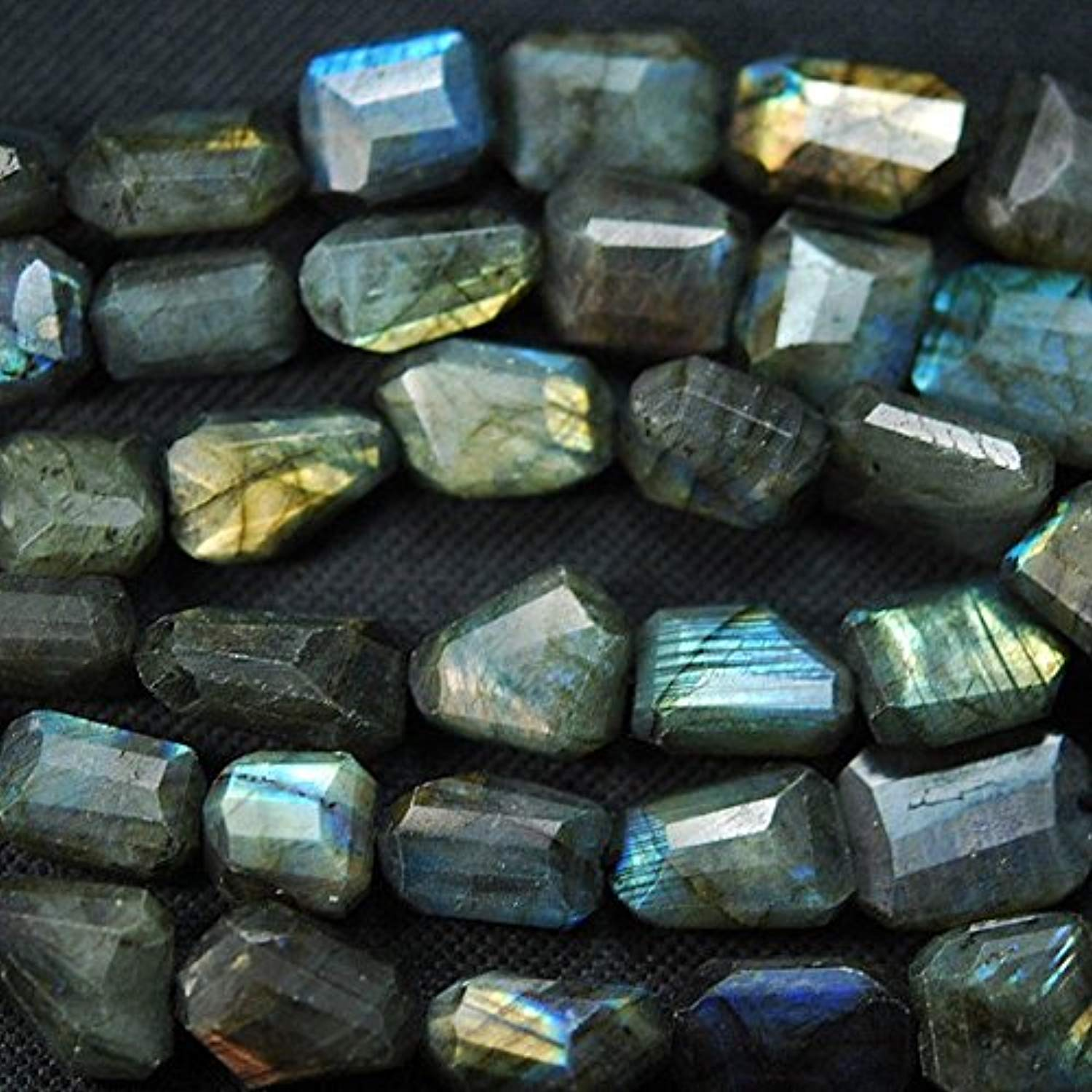 Natural Fire Labradorite Faceted Step Tumble N ets Beads Stre 20  16mm 12mm