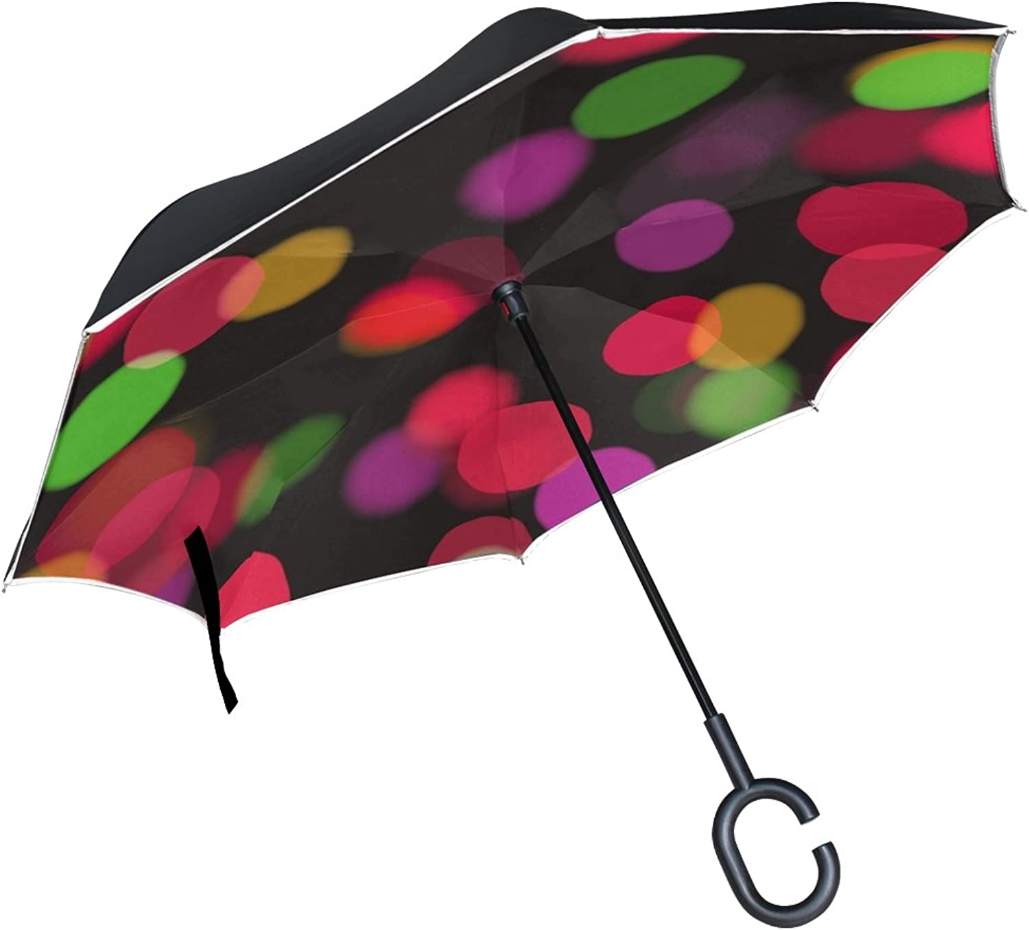 Double Layer Ingreened Bokeh Lights Circles colorful Decorative Umbrellas Reverse Folding Umbrella Windproof Uv Predection Big Straight Umbrella for Car Rain Outdoor with CShaped Handle