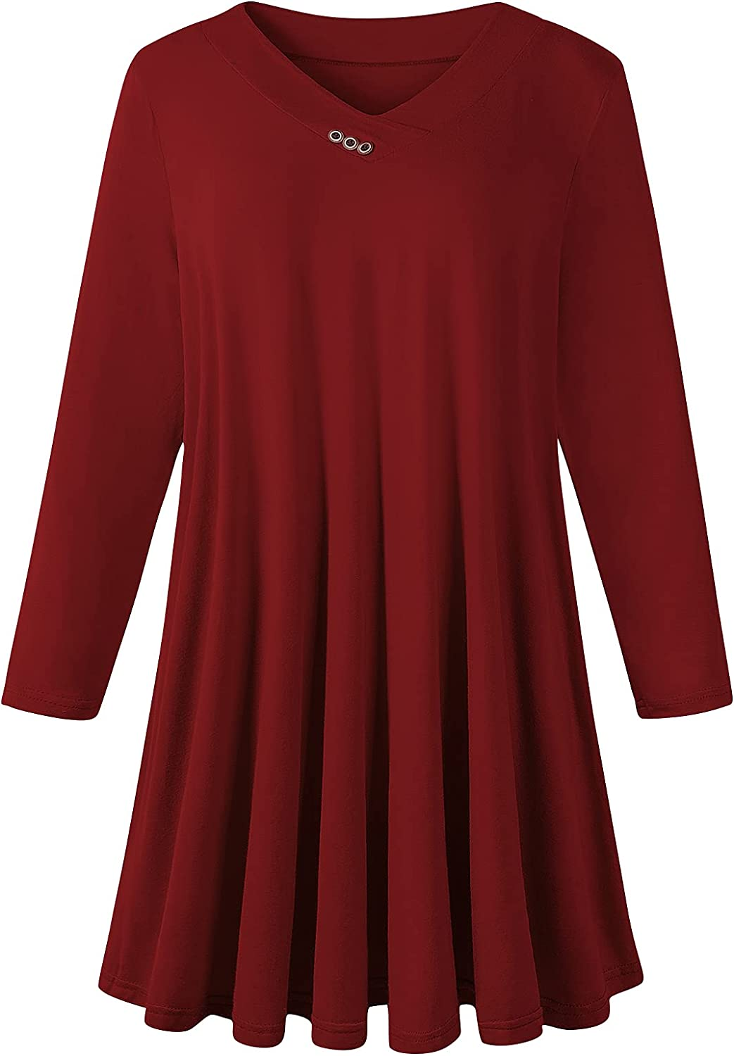 LLMISI Womens Plus Size Long Sleeve Shirts V Neck Swing Tunic Tops Casual Loose Tee To Wear With Leggings