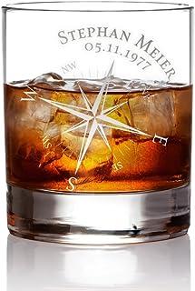 AMAVEL Whiskyglas mit Gravur Kompass, Personalisiert mit Namen und Datum, Tumbler Whiskeyglas, Füllmenge: 320 ml