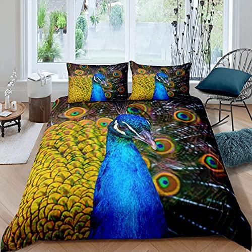 Set di biancheria da letto con pavone, elegante motivo animale, copripiumino per bambini e donne, con piume di pavone, design splendido copriletto per camera da letto, 2 pezzi