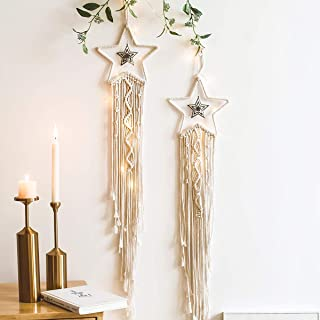 AWAYTR Macrame Dream Catchers Wall Hanging - Room Bedroom Wall Decor Boho Nursery Home Decorations Festival Gift,34 L x 7.5 W (Star)