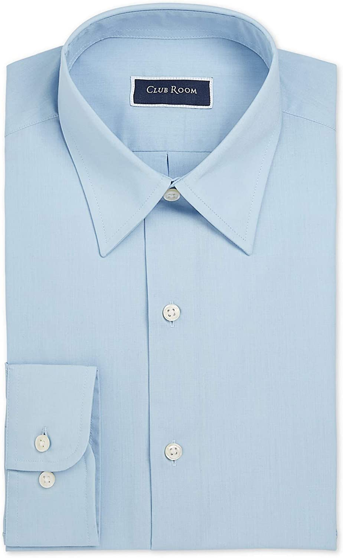 Club Room Mens Dress Shirt Regular-Fit Solid Long Sleeve Blue 17