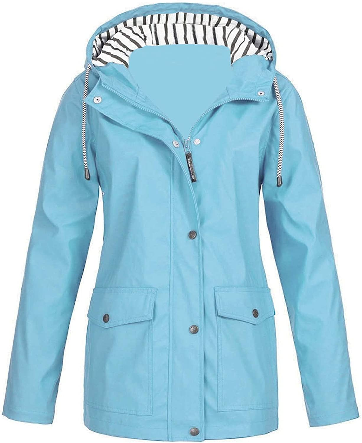 Womens Solid Drawstring Hooded Jacket Long Sleeve Button Waterproof Raincoat With Pockets Casual Windproof Tops