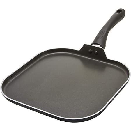 Ecolution Artistry Non-Stick Square Griddle Easy To Clean, Comfortable Handle, Even Heating, 11 Inch, Black