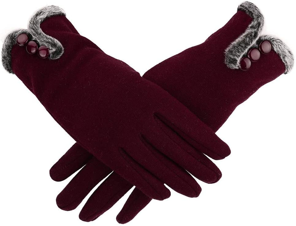 Gloves Style Women Female Gloves Winter Warm Full Finger Cashmere Gloves Driving Mitten Touch Screen Gloves for Mobile