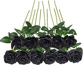 JUSTOYOU - Ramo de Rosas Artificiales de Seda (10 Unidades), Color Negro