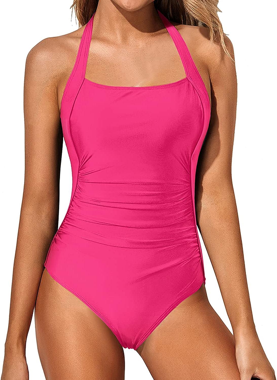 Tempt Me Women Vintage Tummy Control Swimsuit Halter Retro One Piece Bathing Suit