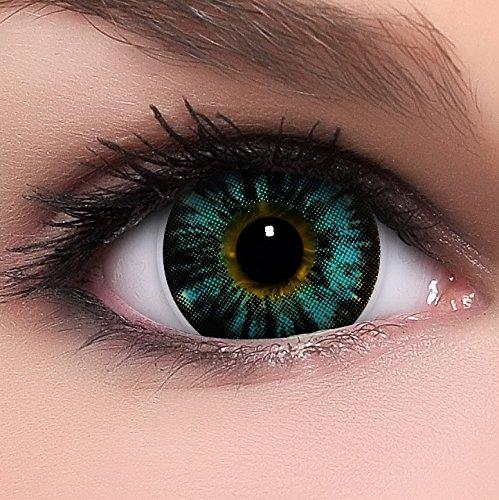 Circle Lenses blaue Nudy Blue ohne Stärke + Behälter I 15mm I weich I 3 Monate anwendbar