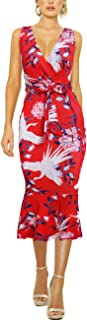 HOOYON Women's Dress Summer Floral Print V-Neck Sleeveless Elegant Mermaid Midi Dress