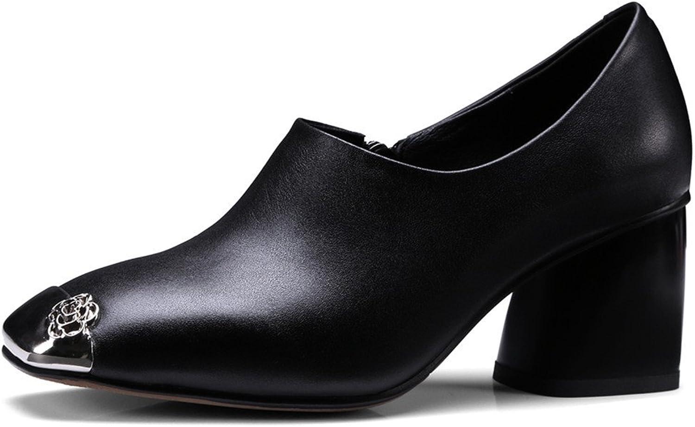 Nine Seven Genuine Leather Women's Square Cap Toe Chunky Heel Zip Handmade Sexy Heels Dress Pumps shoes