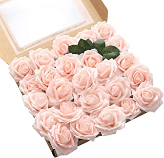 Oara 25pcs Artificial Flower Artificial Rose Flowers Flower Artificial for Wedding DIY Party Home Decorations,Blush