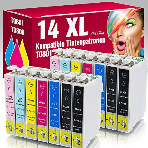 14x kompatible Druckerpatronen T0801 T0802 T0803 T0803 T0804 T0805 T0806 für Epson Stylus Photo