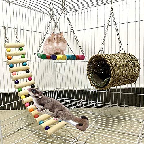 Hamster Spielzeug,papagei Spielzeug Set,Kletter Holz Leiter Swing Vogel Spielzeug für Parrot Kakadu Ara Sittiche Hamster Ratten Rennmaus Käfig Sitzstang(3 Stück)