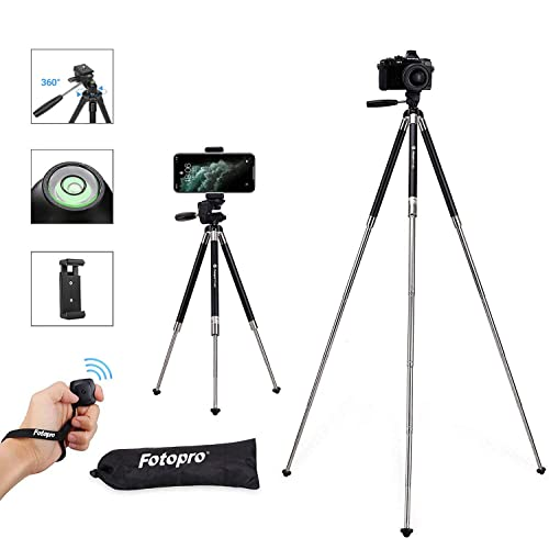 Fotopro Phone Tripod, 39.5 Inch Lightweight Travel Tripod with Remote Controller Shutter Phone Clip, Aluminum Compact Tripod for iPhone, Samsung, Huawei Tiktok Youtube Vlog