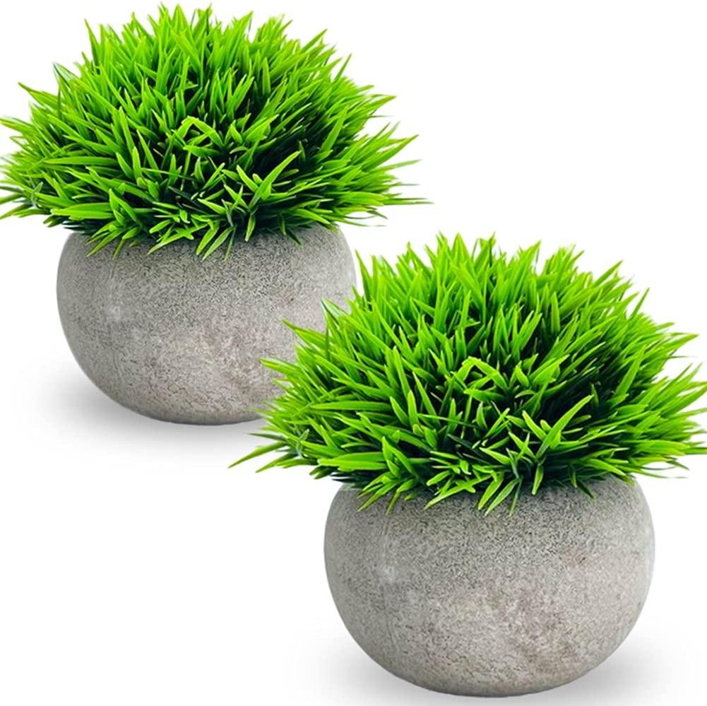 2 Financial sales sale Pack Artificial Mini Potted Faux Elegant Topiary Shrubs Plants Plastic