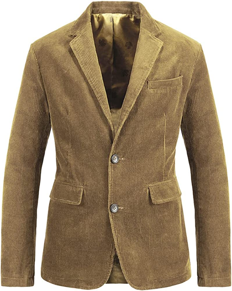 Kedera Men's Vintage 2 Button Slim Work Wear Corduroy Suit Blazer Jacket Sport Coat