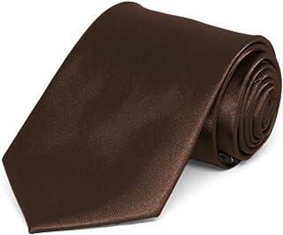 TieMart Boys' Chestnut Brown Solid Color Necktie