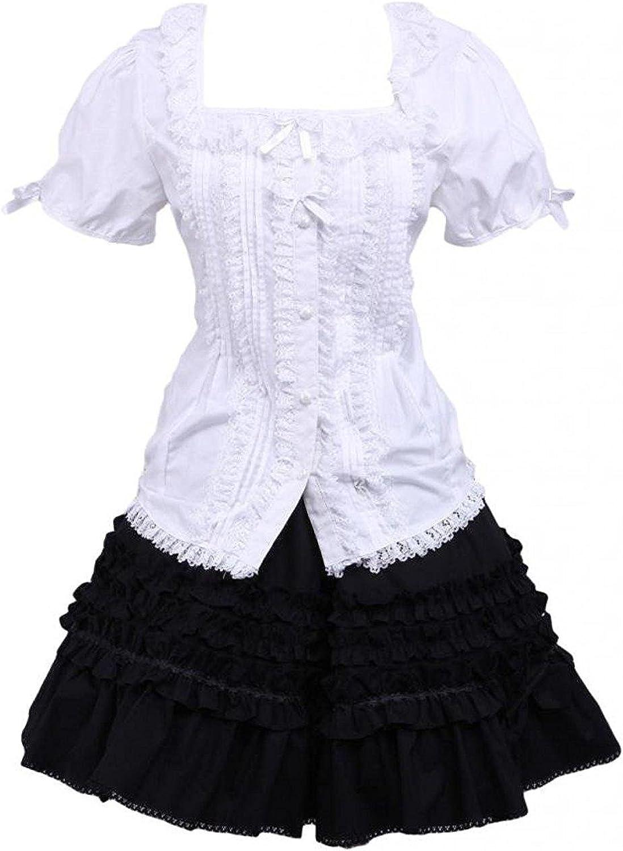 Cemavin Womens Cotton White Lolita Blouse and Black Lace Classic Lolita Skirt