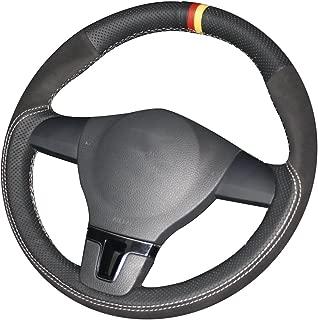 XUJI Black Genuine Leather Car Steering Wheel Cover for Volkswagen VW Tiguan Lavida Passat B7 Jetta Mk6(The Original Steering Wheel is Rubber) (Black Suede Leather Month White Thread)