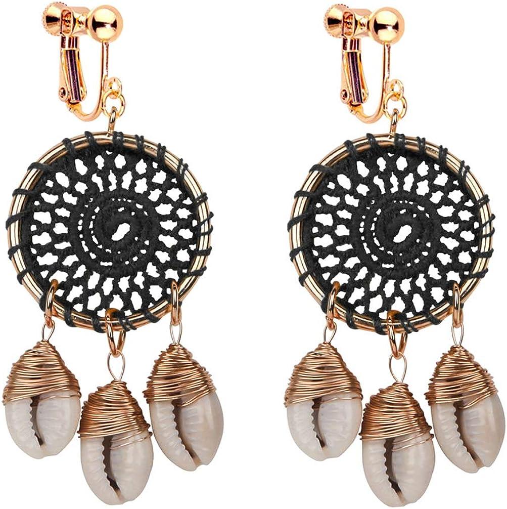 Native American Dream Catcher Earrings for Women Bohemian Shell Clip on Earrings Dangle for Non Pierced Handmade Silky Web
