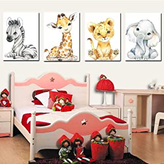 4 Pack Wall Stickers Baby Jungle Theme Nursery Decor Pictures for Baby Kids Living Room Bedroom Bathroom Home Decoration