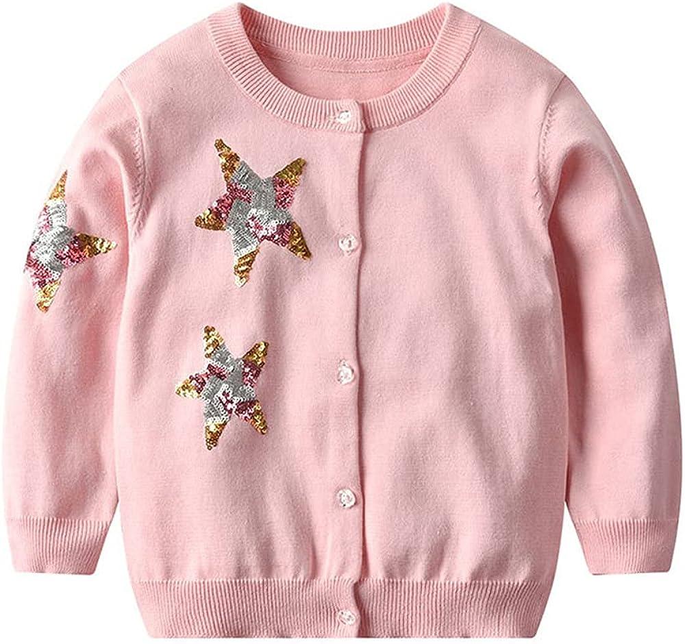 PTPUKE 5 ☆ popular Baby Toddler Girls' Cardigans Star Sequin Cotton Sweaters Memphis Mall