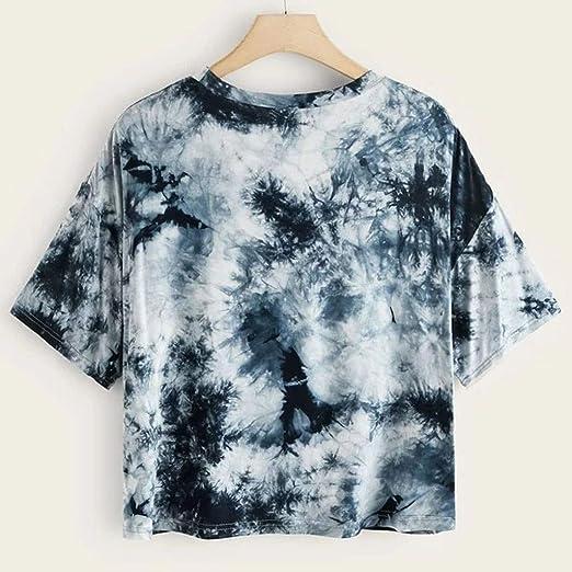LINKIOM Women Tie-dye Round Neck Cut Out Crop Short Sleeve Short T-Shirt Top