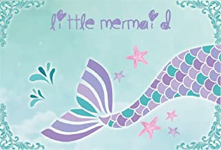 LFEEY 7x5ft Little Mermaid Photography Backdrop Cartoon Beautiful Sea-Maid Tail Background for Baby Shower Kids Birthday Party Decorations Wallpaper Photo Studio Props