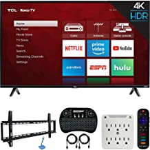 TCL 55S425 55-inch 4-Series 4K Ultra HD Roku Smart TV (2019 Model) Bundle with 37-70-inch Low Profile Wall Mount Kit, Deco Gear Wireless Keyboard and 6-Outlet Surge Adapter with Night Light