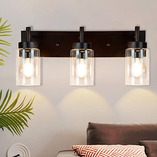 high quality DLLT wholesale Wall Light Fixture, Vintage Bathroom Vanity Light with 3 Clear Glass Shade, Wall Sconces Lamp for Powder Room, Hallway, Kitchen, Mirror, Laundry Room (E26 wholesale Base) outlet online sale