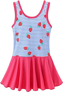 Toddler Girls Swimsuit One Piece Cute Floral Dress Swimwear 3-8 Years