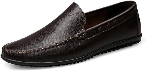 JIALUN-des Chaussures Mocassins Mocassins Simple Homme Mocassins Style Conduite en Cuir Hollywood Mocassins (Couleur   Marron, Taille   47 EU)  jusqu'à 60% de réduction