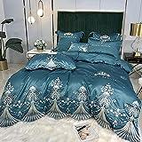 Exlcellexngce Juego De Ropa De Cama 160x200,Summer Luxury Palace Style Ropa De Cama, Verano 60 Hielo Seda Extra Gran Duvet Funda Doble Single Bed Pillowcase-SáBana_Volar_1,8 M De Cama (4pcs)