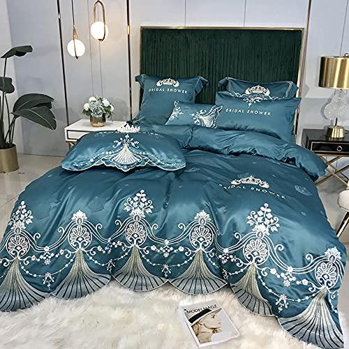 Exlcellexngce Juego De Funda NóRdica 260x240,Summer Luxury Palace Style Ropa De Cama, Verano 60 Hielo Seda Extra Gran Duvet Funda Doble Single Bed Pillowcase-Lecho_Volar_1,8 M De Cama (4pcs)