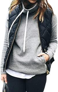 UUYUK Women Solid Stand Collar Zipper Sleeveless Gilet Waistcoat