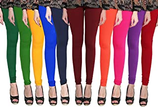 2b7b25a89e727 Omikka Women's Long Length Cotton Lycra Legging (Pack of 10, Free Size)