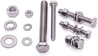 M12 x 30mm 4 Sets Stainless Hex Bolts with Hex Nuts, Flat Washers and Lock Washers Assortments