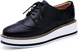 Womens Wingtip Lace-up Oxford Shoes Retro Classic Round Toe Perforated Platform Brogues Oxfords