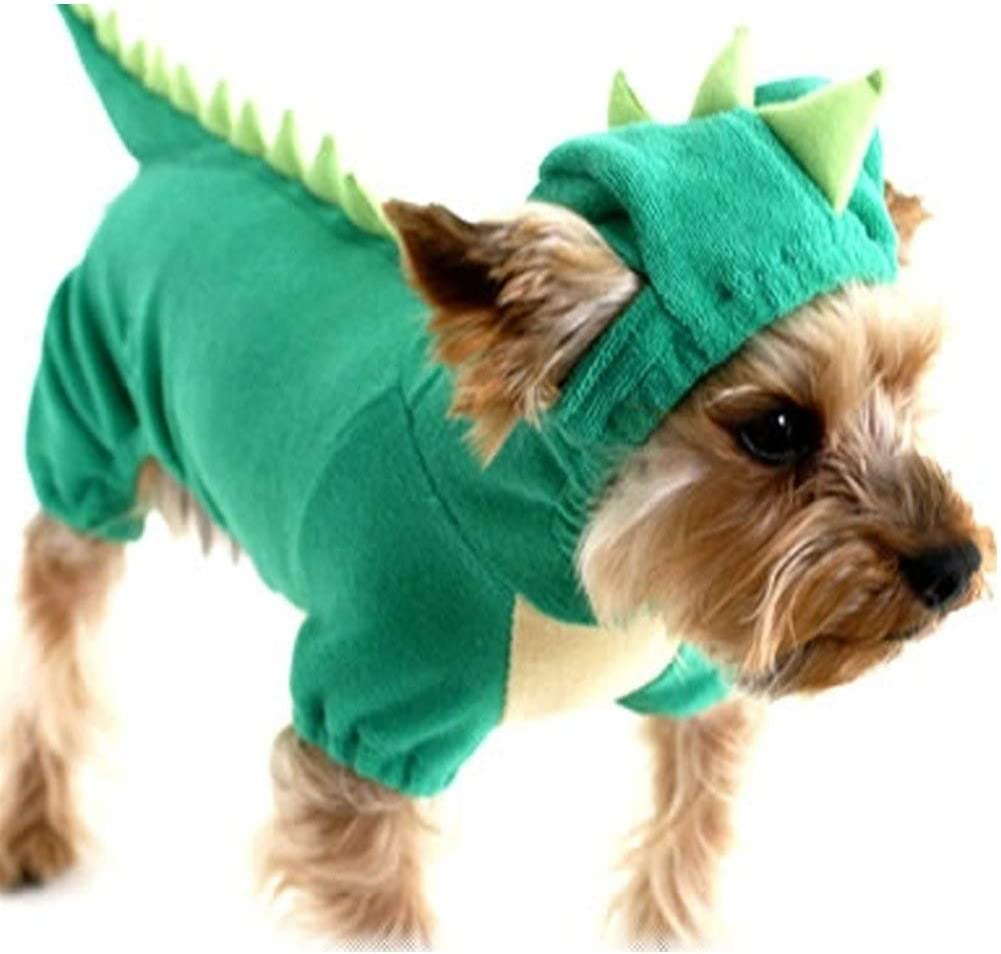 XS, Pink DELIFUR Dinosaur Dog Halloween Costume Pet Dino Hoodie for Small Dogs Cats