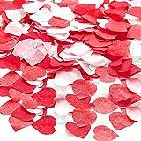 XCOZU 2,5 cm Confeti Boda, 6000 Piezas Confeti de Papel en Forma de Corazón Rojo y Blanco, Confeti para Bodas, San...
