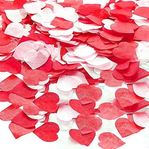 XCOZU 2,5cm Konfetti Hochzeit, 6000 Stück Konfetti Herzen Papier Rot Weiß Herzkonfetti für Luftballons Korationen, Valentinstag, Tischdeko Geburtstag, Babydusche, Party