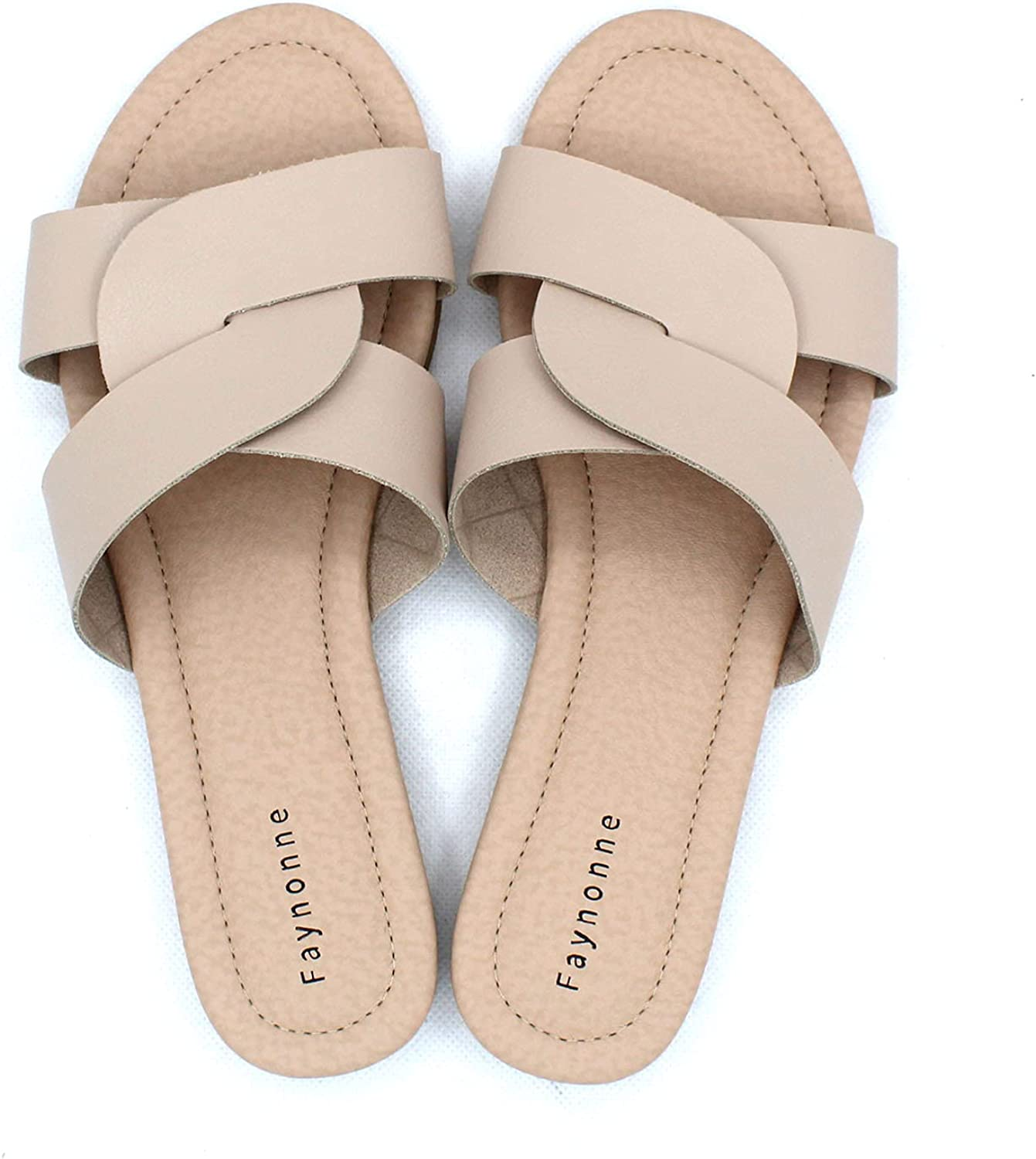Faynonne sandals for women casual summer,Wedge Sandals Comfortable Leather Platform Slippers Women's Carly slide Sandal with Memory Foam Black Beige