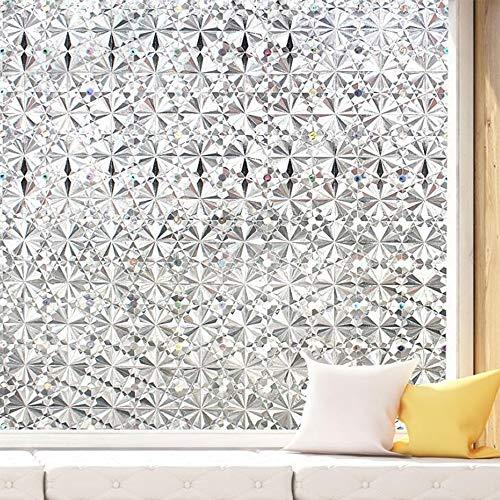 YQ WHJB Kein Kleber Privatsphäre Fensterfilm,statisches Cling Dekorative Folie,3D Klar Diamant Glasfolie,abnehmbare Anti Uv Fenster-Aufkleber Für Startseite A 60x100cm(24x39inch)