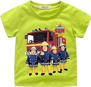 Fireman Sam T shirts-100% Soft Cotton Short Shirts Tees-Kids Summer Short Sleeve T-Shirt