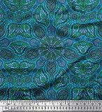 Soimoi Blau Seide Stoff Paisley & Mandala Mosaik- Stoff
