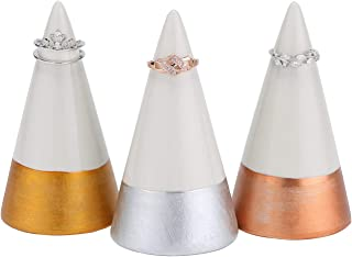 HOME SMILE Ceramic Cone Ring Holder Display Stand with Gold-Tone Accents, Set of 3