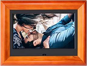 Digital Picture Frames SZSUPER 7 inch Digital Photo Frame High Resolution LCD(16:9) Electronic Picture Frames with Video Player Calendar Auto On/Off Timer with Remote Control Digital Frame (Wooden)